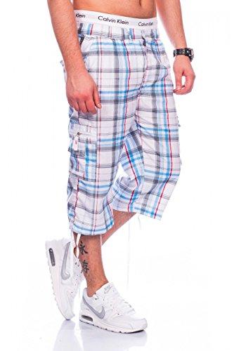 Herren Cargo-Shorts · Straight Fit · Wadenlange Sommer Bermuda · Karo-Design · 3/4 Cargoshorts · Freizeit Capri · Kurze Hose · Walkshort mit Dehnbund · kariertes Muster · H1464 von Max Men (Capri-hosen Herren Neue)
