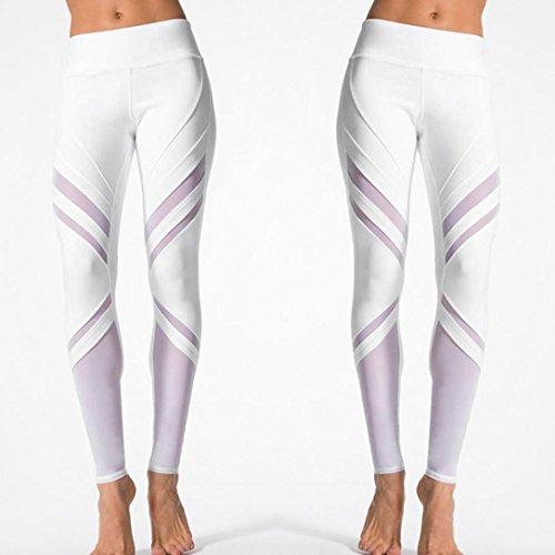 Pantalon de Sport ❤ Femmes leggings Fitness Yoga Pantalons athlétiques ❤ Pantalon élastique Taille élevée white
