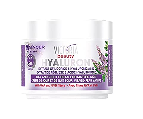 Hyaluron & Licorice Extract Anti-Ageing Day & Night Cream Mature Skin with UVA and UVB filters (60-75 age) with Hyaluronic Acid - 50ml