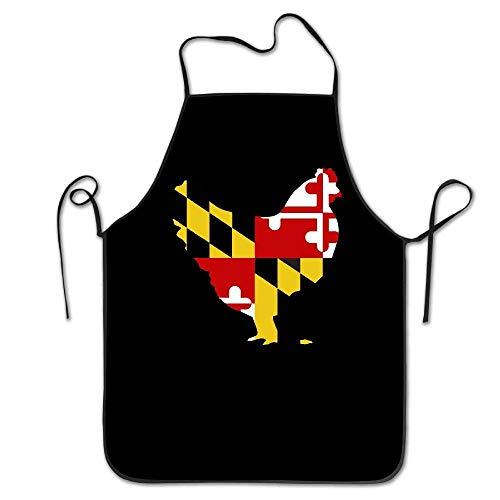 amiuhoun Maryland Flagge Huhn Frauen Herren Küche Lätzchen Schürze Barbershop Tee Shop mit verstellbarem Hals Kochschürze