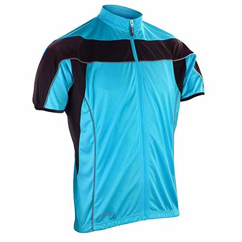 Spiro Herren Bikewear Full Zip Tops Aqua/Black