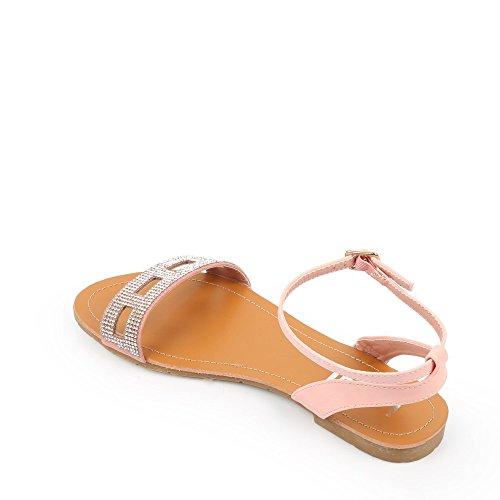 Ideal Shoes Sandales Incrustées de Strass Felina Rose