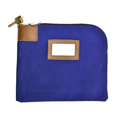 Sicherheit/Night Deposit Tasche mit 2Schlüssel, Schlösser Bank Umhängetasche Leinwand 11x 8–1/5,1cm, blau