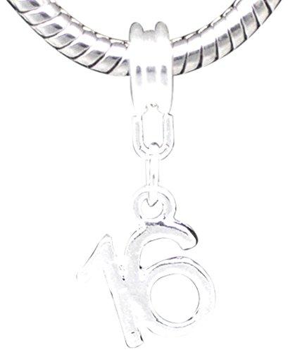 Buckets of Beads Happy 16th Birthday baumeln Charm Bead für Pandora/Troll/Biagi/Zable (Happy Birthday Charme Pandora)