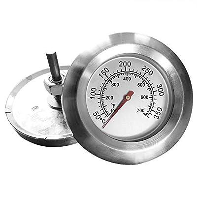 GBESTE Grillthermometer Edelstahl Deckelthermometer bis 350°C/700°F, Thermometer für alle Grills, Ofen, Smoker, Räucherofen und Grillwagen, Grillzubehör (Anzeige: Celsius und Fahrenheit)