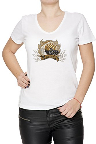 Mustang Donna V-Collo T-shirt Bianco Cotone Maniche Corte White Women's V-neck T-shirt