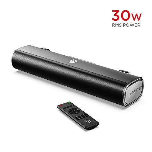 BOMAKER Mini Barre de Son 16-inch Sound Bar 30W RMS avec entrée Bluetooth 5.0, câble Optique, AUX...