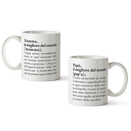 Set 2 tazze con stampa - definizioni mamma e papà - divertenti tazze da tè o caffè - regalo di compleanno - regalo di natale - regalo per genitori - festa della mamma - festa del papà