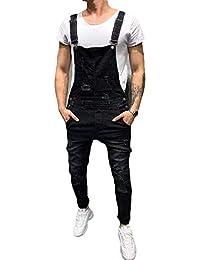 530aa8c0b90 Homme Salopette Jeans Serré Denim Trou Bike Skinny Cargo Slim Déchiré  Pantalon pour Printemps Automne