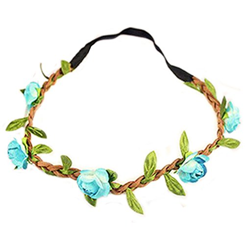 Hippie-Liebe Blumenkranz Blumenkrone Festival Hochzeit Haarkranz BOHO Blumenstirnband (Blau) -