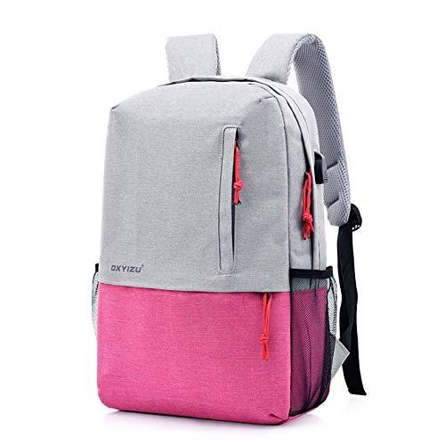 Mutifunction Business Travel Rucksack Gelegenheits-Rucksack mit USB-Ladeanschluss Carry-on Gepäck Duffel Bag Wasserdichten Rucksack für Laptop bis 15 Zoll,Pink - Carry On Rucksack Gepäck