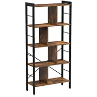 VASAGLE Bookshelf, Industrial Bookcase, Floor Standing Bookcase, Large 4-Tier Storage Rack in Living Room Office Study, Simple Assembly, Engineered Wood and Stable Iron Frame, Rustic Brown LBC12BX