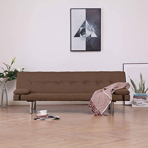 Tidyard- Schlafsofa mit Zwei Kissen Taupe Polyester Adjustable Sofa