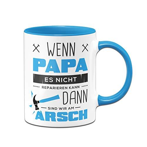 Tassenbrennerei Tasse mit Spruch Papa Reparieren - Geschenk für Papa, Vater - Geburtagsgeschenk,, Vatertag - Tassen mit Sprüchen lustig (Blau)