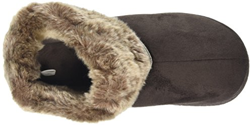 Isotoner - Pillowstep Bootie With Fur Cuff And Tape Trim, Pantofole Donna Marrone (Marrone (Chocolate))
