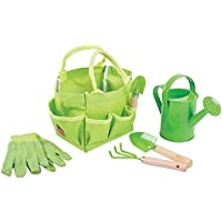 Bigjigs Toys Children's Small Tote Gardening Bag with Tools, Watering Can and Gardening Gloves