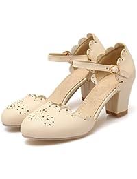Pumps Beiläufige Niedrige Ferse Knöchel Schnalle Falbala Mädchen Pumps Schuhe Frauen Pumps (34, Weiß)