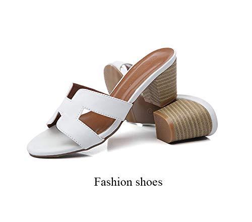 Uhrtimee H Pantofole Estate Femminile Indossare Nuovi Sandali con Tacco Alto Spesso con Nette Scarpe da Spiaggia Rosse da Spiaggia Scarpe da Spiaggia Donna, 34, Bianco