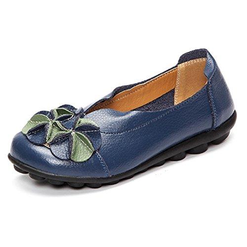 Socofy donne mocassini da donna primavera/estate vintage fiori fatto a mano pelle scarpe stile loafers comode slip on scarpe espadrillas scarpe da guida scarpe da passeggio