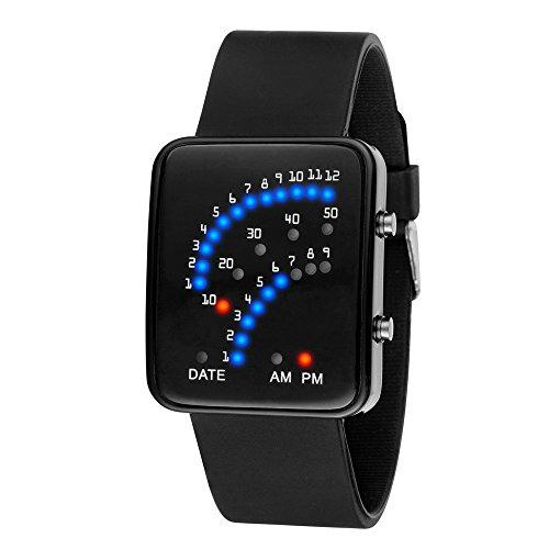 Yogogo Damen Herren Quartz Analog LED Armband, 1 Cent Artikel Armbanduhr | Edelstahlband | Dekoration | Geschenk | Alugehäuse | Quarzwerk | Wasserdicht | Sportuhr | 24cm Bandlänge (Schwarz)