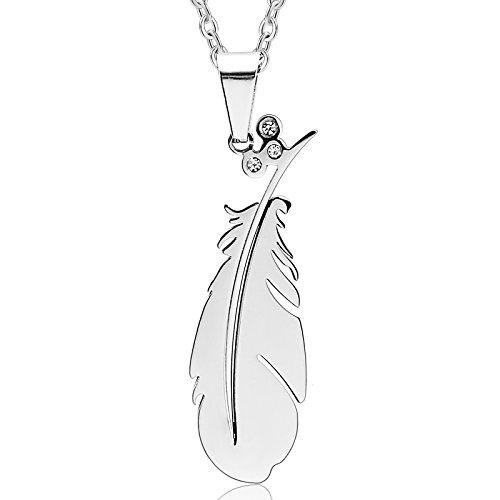 Epinki Edelstahl Partnerketten Partner Anhänger Halskette Cubic Zirkonia Feder Love Valentine Silber 1.3x4CM (Rock N Roll Kostüm Ideen Für Männer)