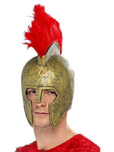 Gladiator Perseus Kostüm - Halloweenia - Kostüm Accessoires Zubehör Herren griechischer Perseus Gladiatoren Helm mit rotem Irokesen Helmbusch, perfekt für Karneval, Fasching und Fastnacht, Gold