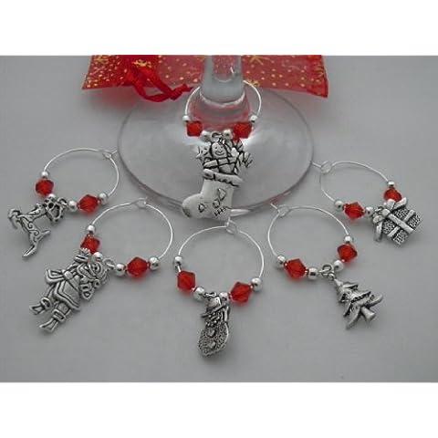 Festive-Set di 6 ciondoli da vino realizzato a mano da libbysmarketplace - Snowman Wine Glass