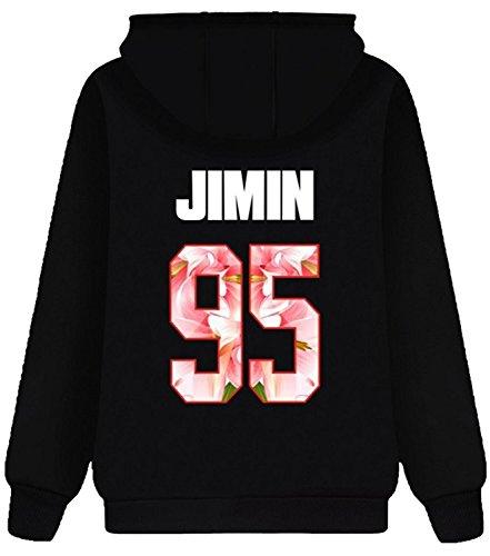 Eudolah Damen BTS Hoodie Kapuzenpullover mit Fleece unisex streetwear Fashine Casual sweatshirt ASchwarz-95-Jimin