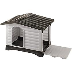 Feplast 87253099 Dogvilla 70 - Caseta de exterior para perros, robusto plástico resistente a los golpes y rayos UV, rejilla de ventilación, 73 x 59 x 53 cm (Dimensiones internas: 62 x 43 x 45 cm)