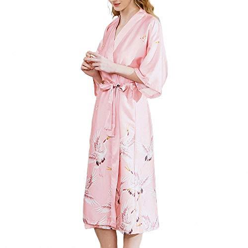 ZREED Satin Kimono Peacock Kimono Robe für Frauen Hochzeit Mädchen Bonding Party Pyjamas (Fleece-petite-robe)