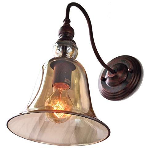 Big Bells Wandleuchte im Retro-Stil, Klarglas, Rost, Vintage-Stil, E27, Edison-Lampe, 40 W Edison-Glühbirne Art Deco Rust Body + Amber Shade
