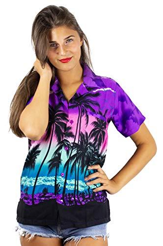 V.H.O. Funky Hawaiihemd Hawaiibluse, Beach, violett, XS