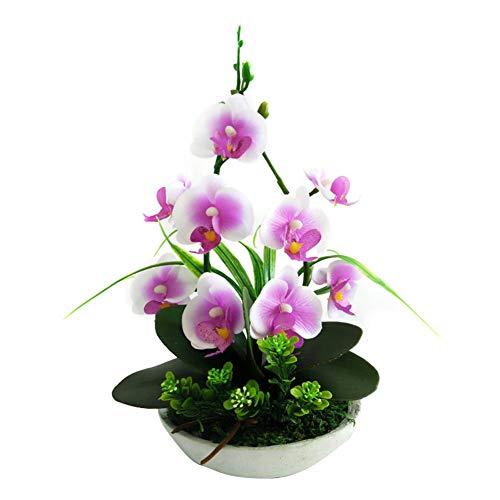 azurely Fiori Artificiali, Farfalla Orchidea Piante Ornamenti con vasi da Fiori Decorazione Floreale Verde immortale per la Festa Nuziale Cucina Decorativa Domestica Ufficio e Regalo di Natale