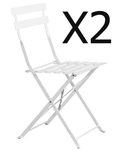 PEGANE Lot de 2 chaises de Jardin Pliante Blanc Mat - Dim : 41 x 46 x 80 cm