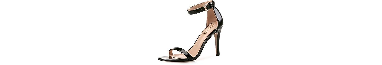 Xue Qiqi Sandalias tacones fresco chica fina con correa ranurada salvajes zapatos,38, negro de 8cm. -