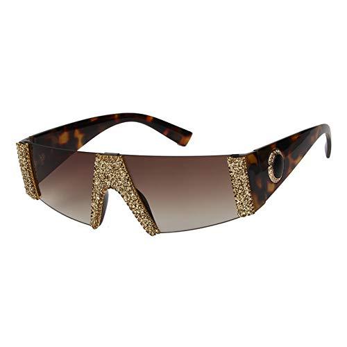 Taiyangcheng Polarisierte Sonnenbrille Sonnenbrille Frauen Vintage Designer Randlose Sonnenbrille Kies Strass Weibliche Shades Goggle Flat Top,Gold