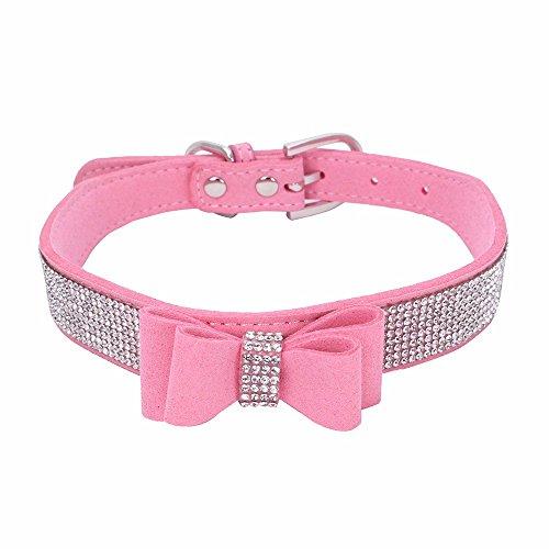 Smniao Haustier Hundehalsband Bowknot Katzen Halsband mit Diamant Verstellbares Halsumfang 15cm bis 45cm für Mittlere/Kleine Hunde (XXS:15-21CM, Rosa)