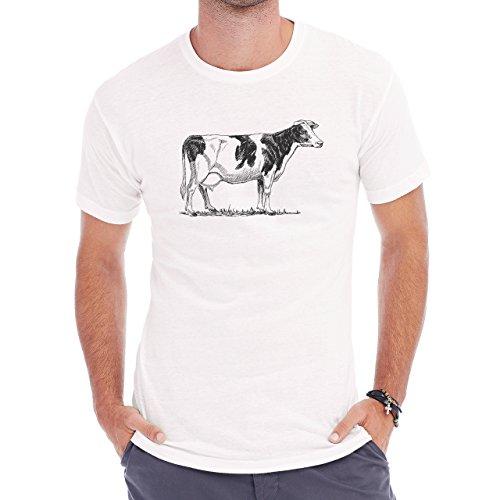 Bull Cow Animals Farm Standing Black Spots Herren T-Shirt Weiß