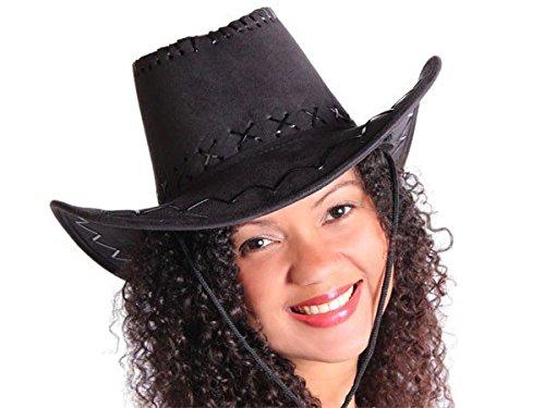 Cappello da cowboy stile western texas australiano nero (C-06) unisex in camoscio rifinitura pelle accessorio (Oggi Ritratti)