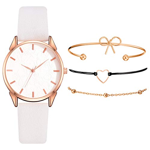 Armband Damen Uhr Set Anhänger Analog Quarzuhr mit PU Leder Schmuck Geschenk Set (E)