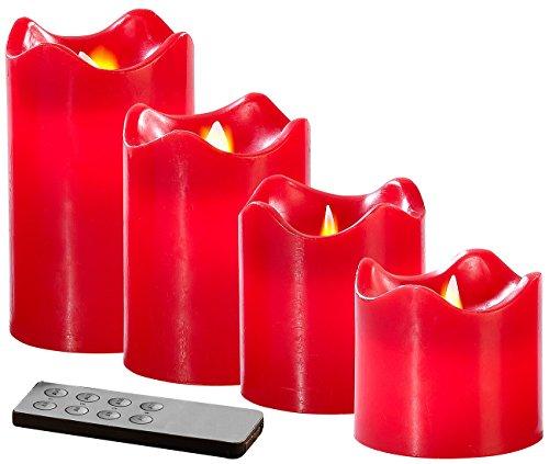 Britesta Kerzen: 4 Echtwachskerzen mit beweglicher LED-Flamme, Abgestuft, rot (LED Kerzen mit beweglicher Flamme)