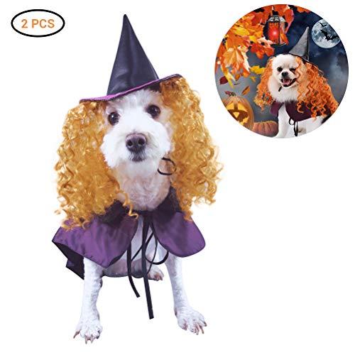 Pet Cute Kostüm - Comtervi Hund Katze Kleidung, Halloween Lustiger Hund Kostüm Umhang Hund Cosplay enthält Hut Cute Pet Kostüm Set für Party Cosplay Deko