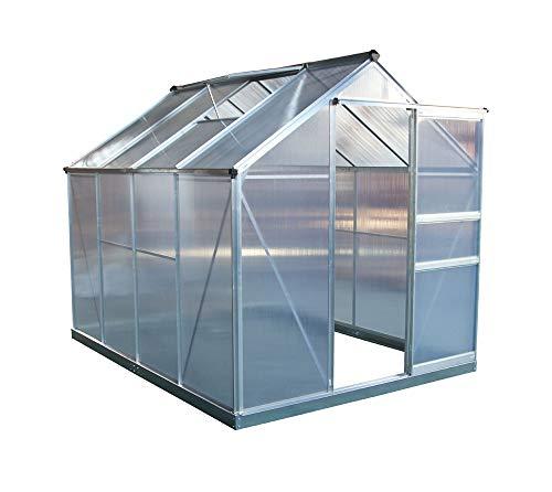 Yendoo Aluminium Gewächshaus Gartenhaus 6x8 Silber inkl. Öffner, 190x252 cm // Treibhaus & Tomatenhaus zur Aufzucht