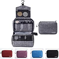 Funmo Toiletry Bags,Travel Hanging Toiletry Wash Bag,Organizer Waterproof Foldable Cosmetic Bag,Bathroom Storage with Hanging for Vacation, Ideal Gift for Men and Women (Gray)