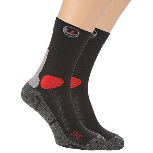 Ultrasport Messieurs Lot de 2 chaussettes de randonnée multifonctions, Homme, 2er Pack, noir/rouge, 43-46