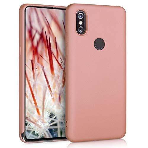 kwmobile Funda para Xiaomi Mi Mix 3 - Carcasa para móvil en TPU Silicona - Protector Trasero en Oro Rosa Metalizado
