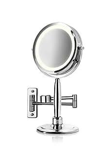 Medisana CM 845 Kosmetikspiegel, 3 in1 (Standspiegel, Wandspiegel, Handspiegel), normal und 5-fache Vergrößerung, 17 LEDs, verchromt