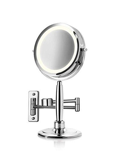 Medisana CM 845 Kosmetikspiegel 88552, beleuchtet mit 5-facher Vergrößerung und 360°...
