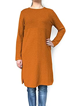 DSUK Mujer Suave Acogedor Sueter de Manga Larga Jerséis Vestido Saltador Plaid Baggy Cuello Redondo Tunica Pullover