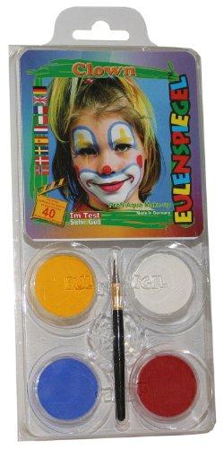 Schminkset Clown, Pinsel und Anleitung, 4 Farben (Le Clown D'halloween)